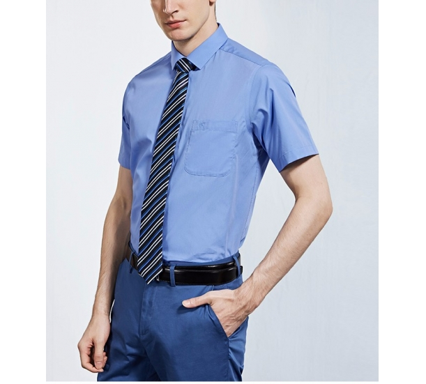 Men's breathable Yarn Dyed Dress Short sleeve shirt
