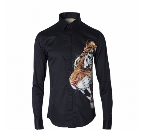3D Tiger printing long sleeve shirt