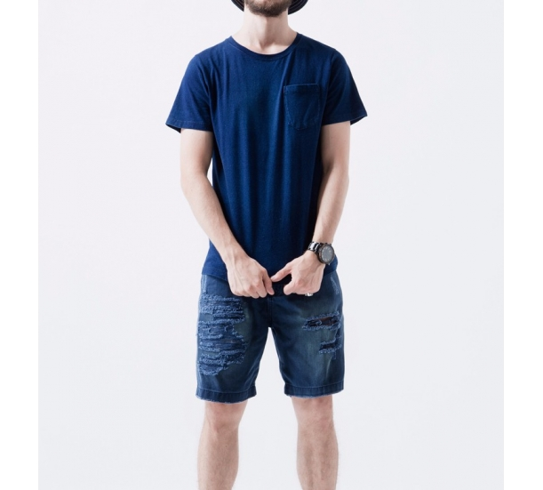 Men's Indigo washing short sleeve t-shirt