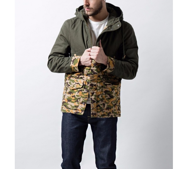 100%Cotton camouflage contrast coat