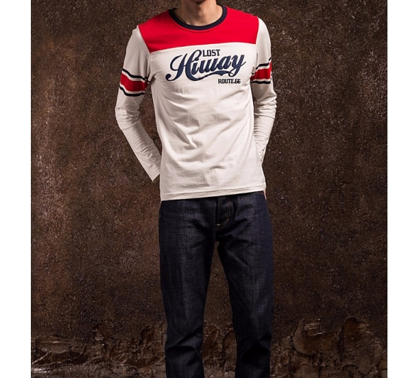 Heavy cotton long sleeve contrast color printing t-shirt