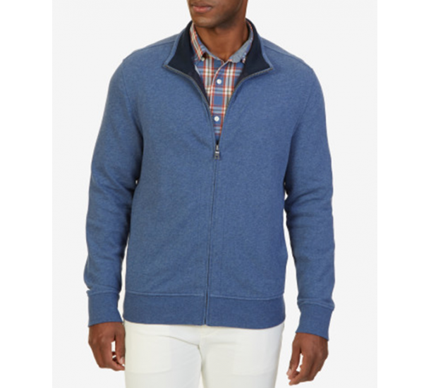 French terry stand neck zip up jacket