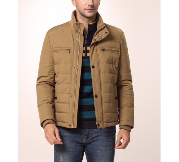Men's clothing Paragraphs in the autumn of youth pure color collar business leisure thin cotton-padded jacket men long sleeve coat