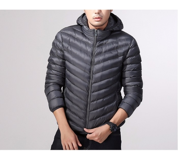 New slim down jacket collar male paragraphs cultivate one's morality short eiderdown outerwear big yards white duck down thin winter coat