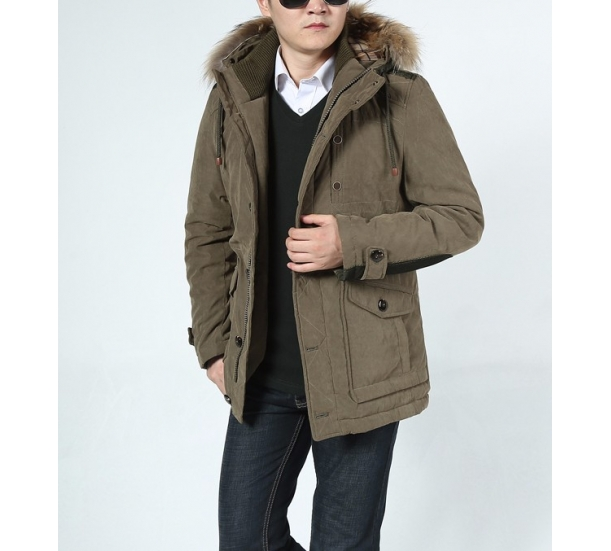 Winter new men thickening big yards long winter jacket in easing cotton-padded jacket collars cotton-padded clothes