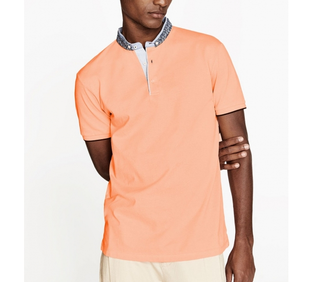 Men's Chinese button collar short sleeve Polo shirts