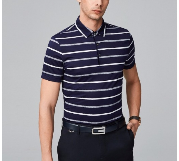 Men's Strip light weight polo shirts with spandex