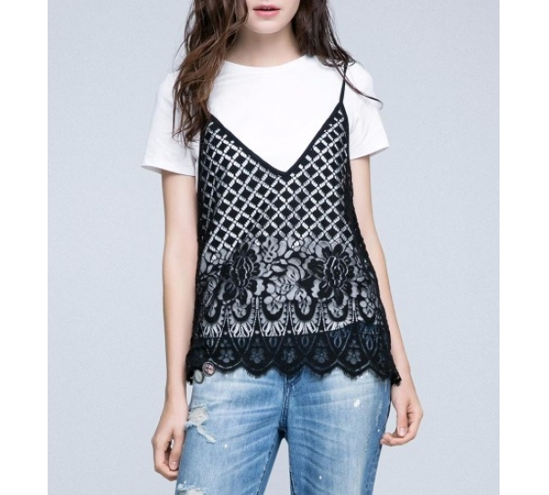 Women's T shirt , casual with hollow and two-piece