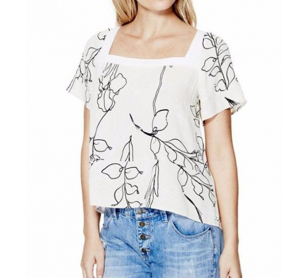 Women's  T shirt , with leaf printing casual style