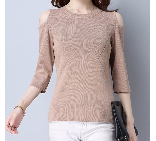 women's sweater ,  slim fit and off-the- shoulder