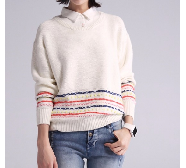 women's sweater ,  lapel neck with pullovers