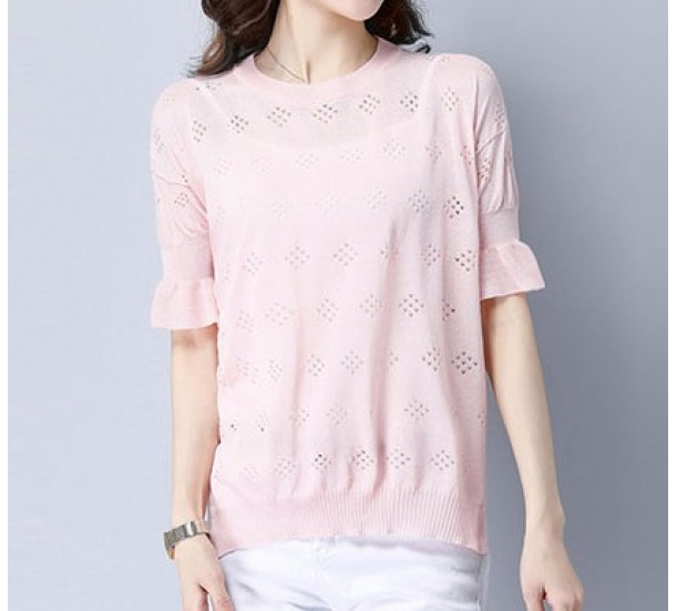 women's sweater ,  thin style  with hollow with ruffle short sleeve