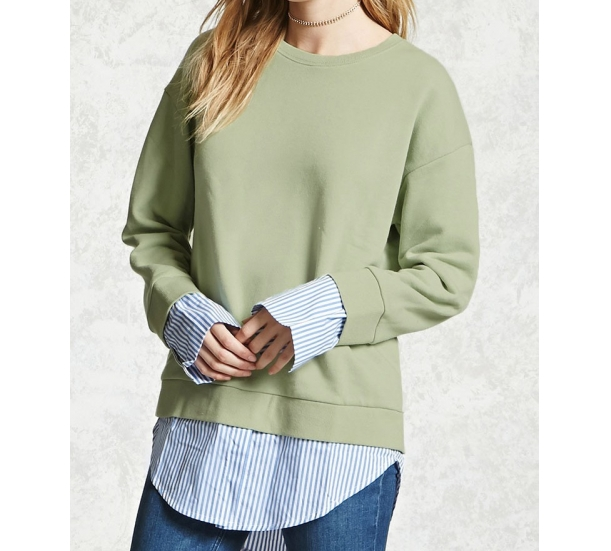 Women's hoodies , round neck layered pullovers