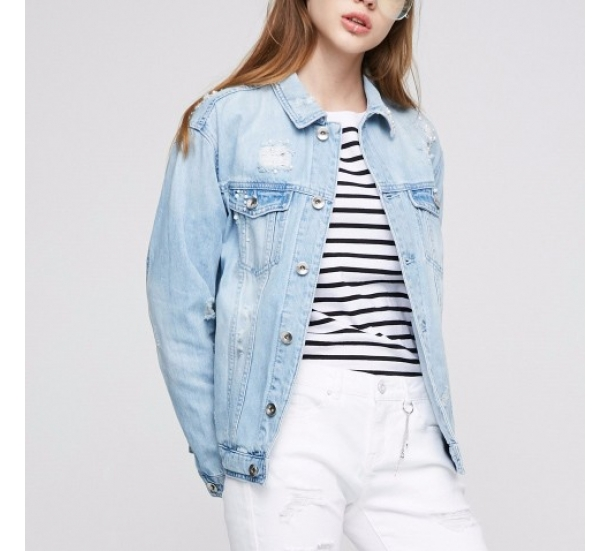 women's jackets , Casual with beading pearl jean coat