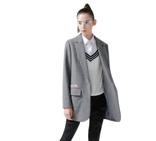Girls heavy wool blazer coat