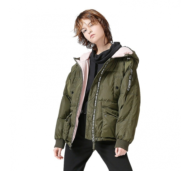 Slogan Strip sleeve Hood Coat