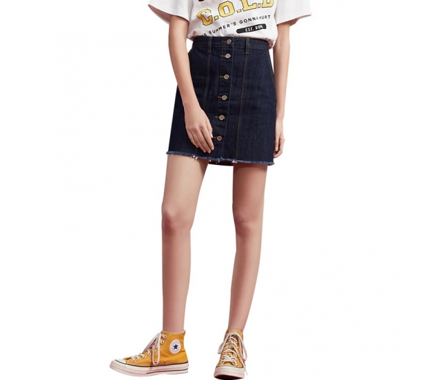 Girls Black Denim button up skirt
